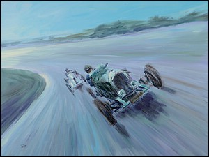 Racing Bentley painting by Simon Taylor