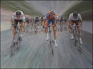 Painting of Stage 18 Tour de France by Simon Taylor
